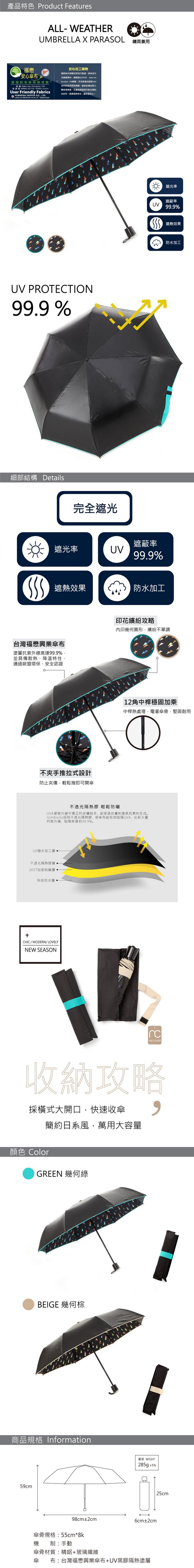 MECOVER【完美防曬】零透光黑膠加大手開傘-幾何綠
