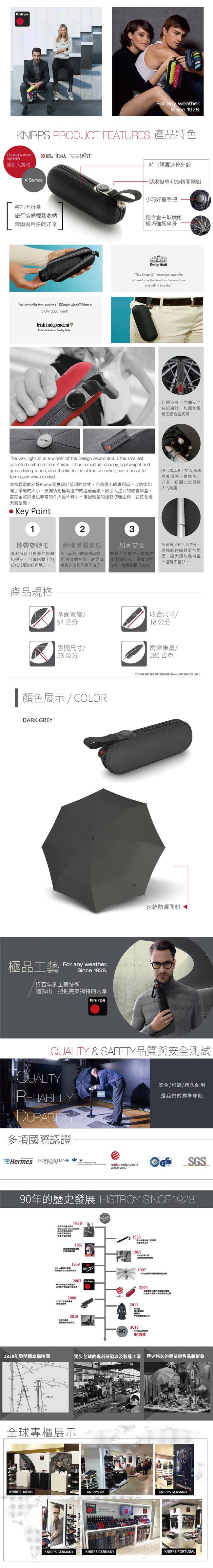 (複製)Knirps德國紅點傘|X1 膠囊五折傘-NUNO Drip