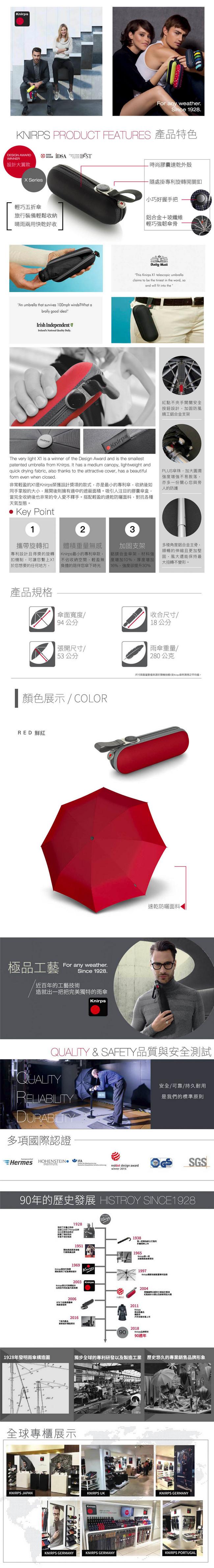 (複製)Knirps德國紅點傘|X1 膠囊五折傘-Dark Grey