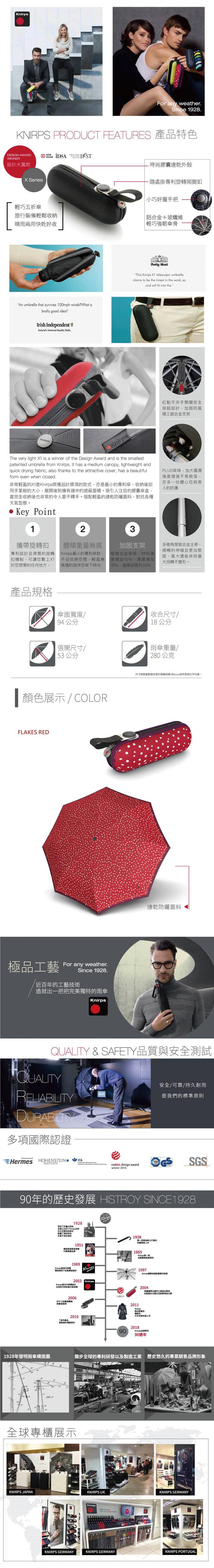 (複製)Knirps德國紅點傘 X1 膠囊五折傘-NUNO Drip