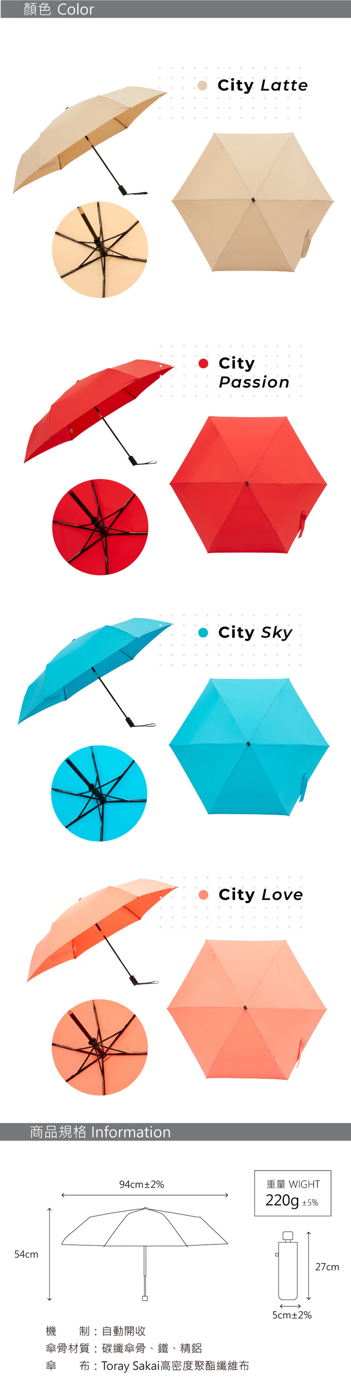 MECOVER City Auto東麗酒伊面料超輕扁平自動傘-Sky(藍色)