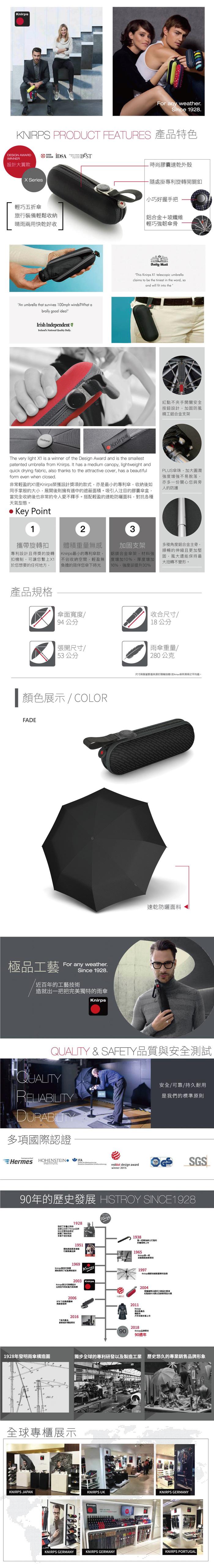 (複製)Knirps德國紅點傘 X1 膠囊五折傘-Dark Grey