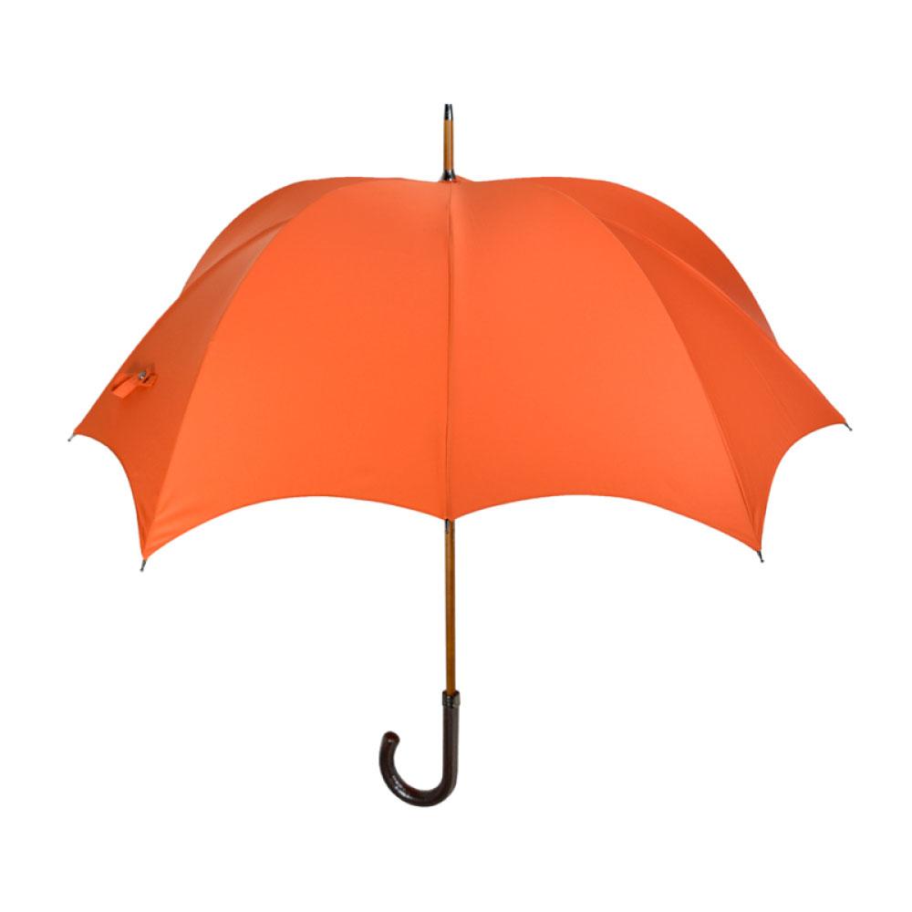 DiCesare|GRANDE 1tone 漆皮素色南瓜傘-夕陽橙(棕色皮革握把)