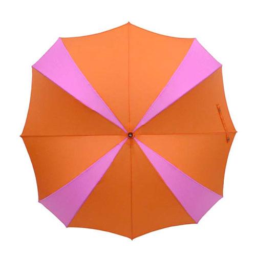 DiCesare|Cross 2tone Walker 撞色十字拼接晴雨兼用傘-棕色木質握把