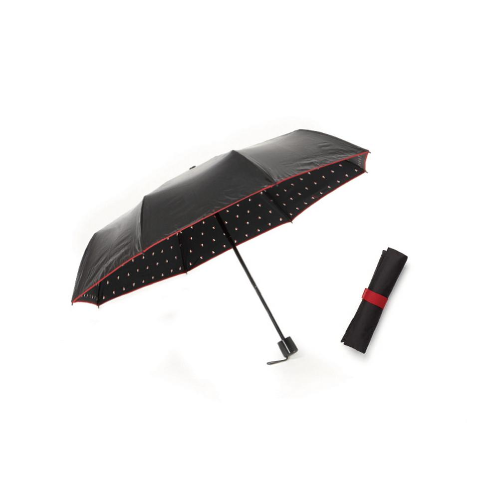 MECOVER|完美防曬-零透光黑膠加大手開傘-愛心玫瑰紅