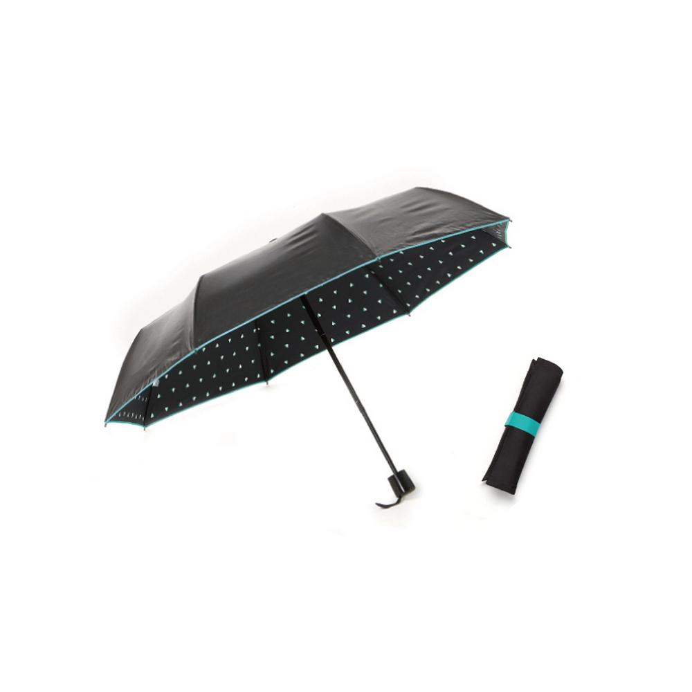 MECOVER|完美防曬-透光黑膠加大手開傘-愛心蒂芬妮綠
