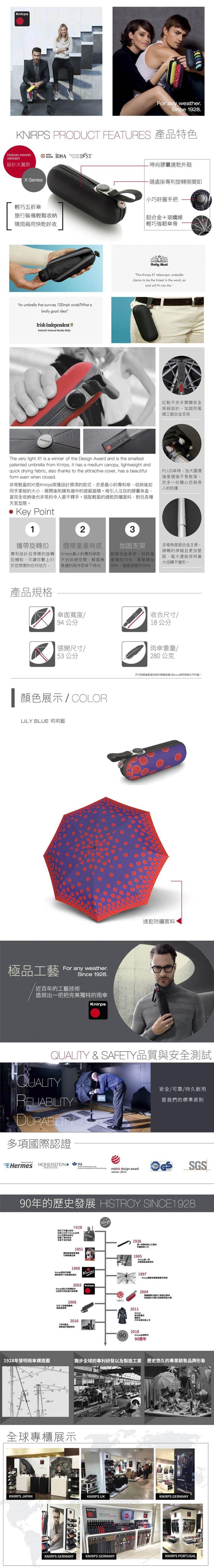 (複製)Knirps®德國紅點傘| X1 膠囊五折傘-Stars Black