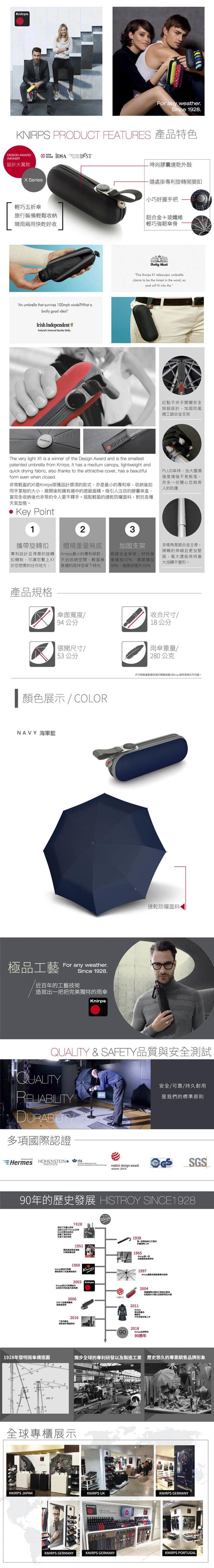 (複製)Knirps®德國紅點傘| X1 膠囊五折傘-Lily Blue