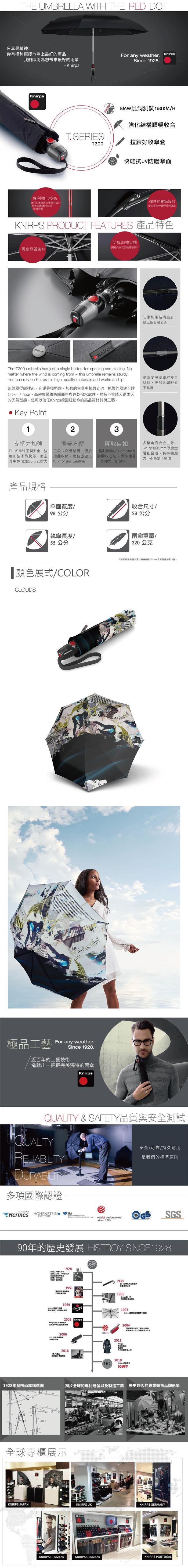 (複製)Knirps德國紅點傘|T.200 自動開收傘- Perfection stone