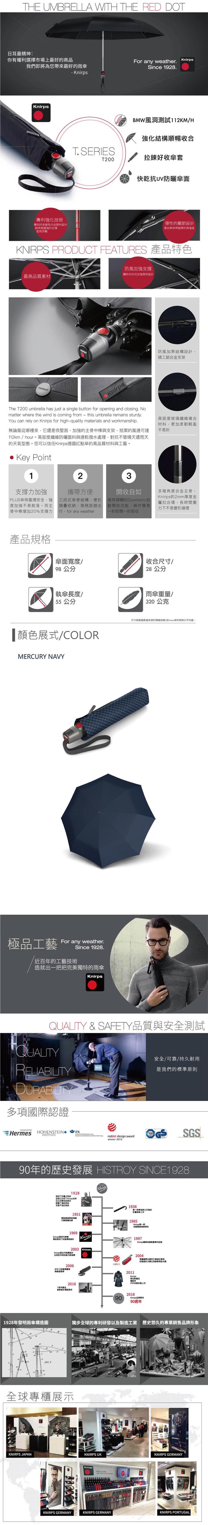 (複製)Knirps®德國紅點傘 T.200 自動開收傘- Saturn Rock