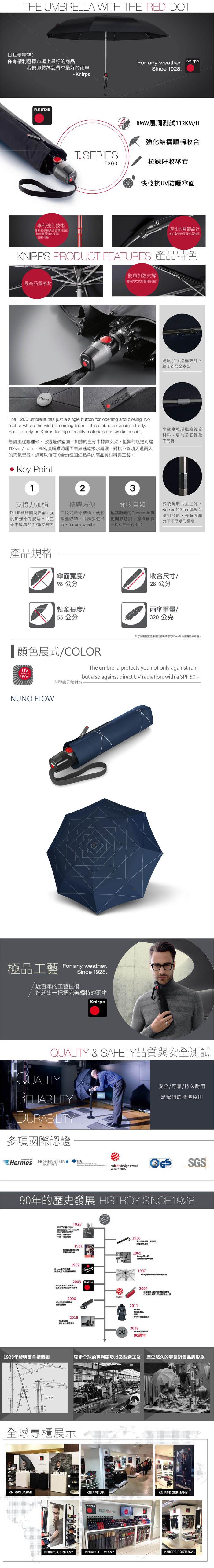 (複製)Knirps德國紅點傘|T.200 自動開收傘- Unity black