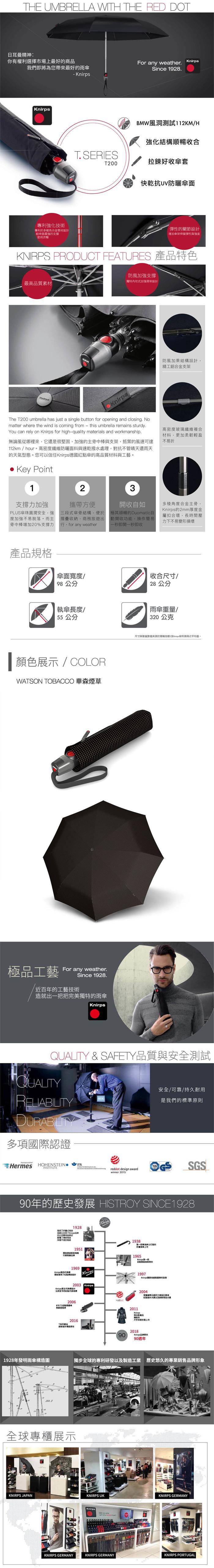 (複製)Knirps德國紅點傘|T.200 自動開收傘- Power black