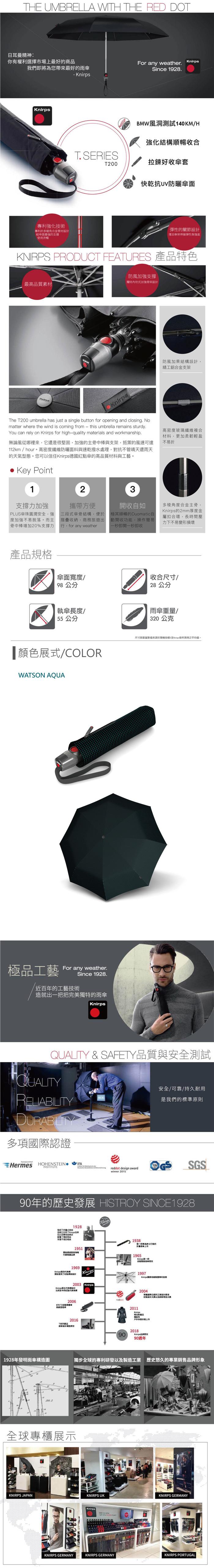 (複製)Knirps德國紅點傘|T.200 自動開收傘- Perfection black