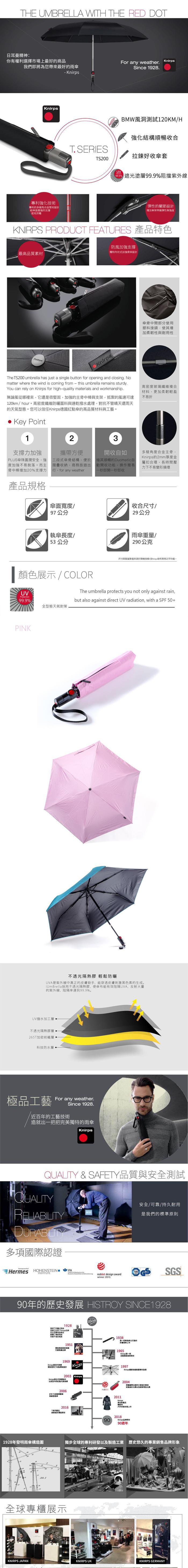 (複製)Knirps®德國紅點傘|TS.200 輕薄抗曬自動開收傘-Light Blue