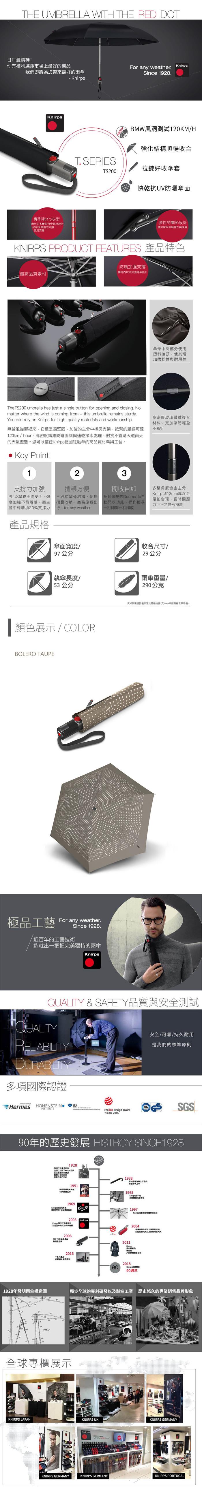 (複製)Knirps®德國紅點傘|TS.200 輕薄自動開收傘-Primrose Pink