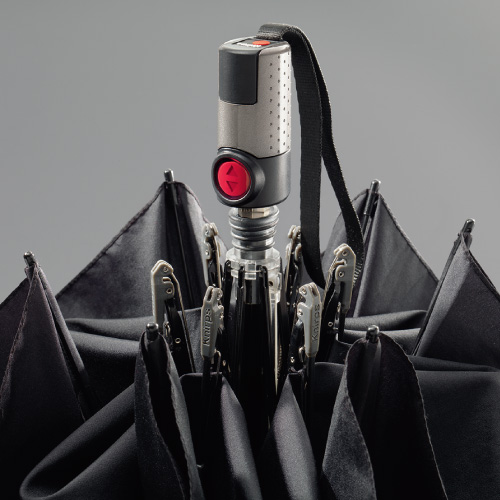Knirps®德國紅點傘 TS.220 輕薄安全扁自動開收傘-Black