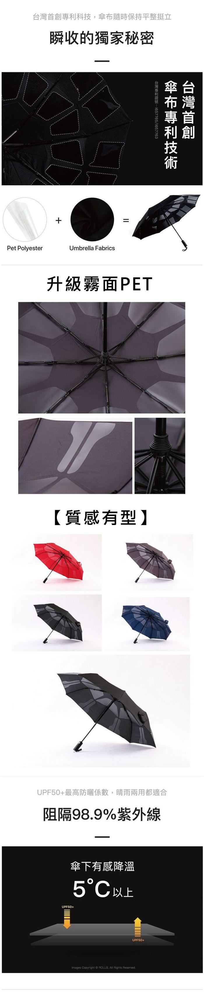 ROLLS|瞬間捲收傘(酒紅)