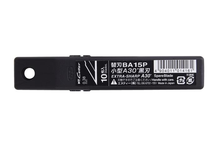 NT Cutter Premium 2A型美工刀用替刃BA15P(10片入,30°高碳鋼黑刃,刃厚0.38mm)