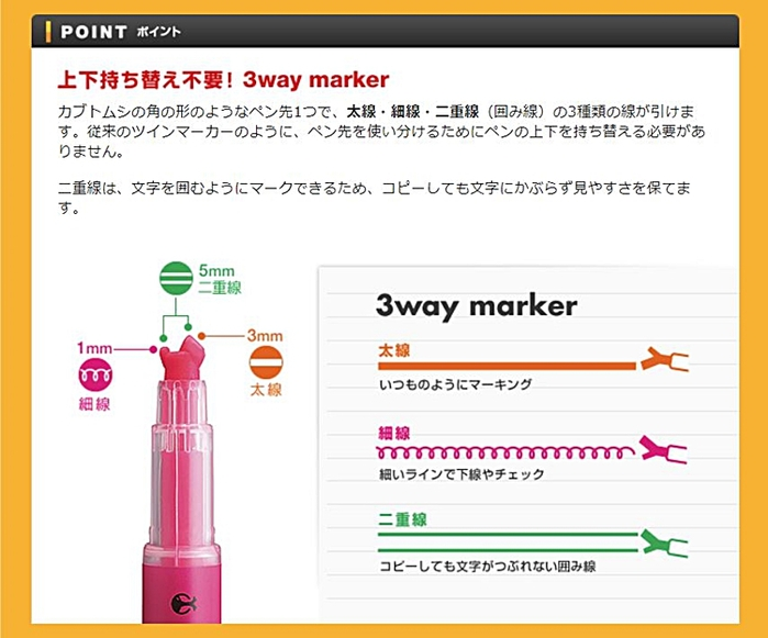 日本KOKUYO獨角仙螢光筆Beetle Tip 3way maker PM-L301-5S(5色組)