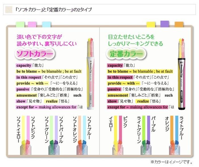 日本KOKUYO雙色螢光筆Beetle Tip dual color PM-L303-3S(3入組)