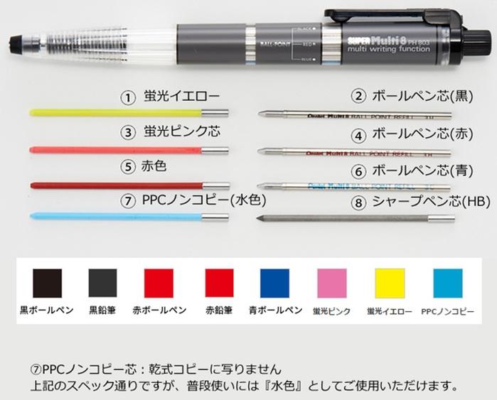 日本Pentel飛龍Super Multi 8 八合一機能筆組合PH803ST(2mm筆芯)