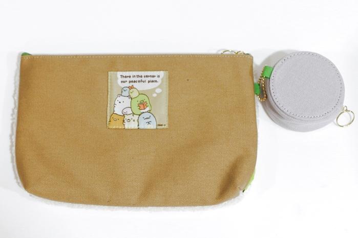 日本San-X角落生物化妝包手拿包CCU64301米色 /CU64401藍紫色(含零錢包)