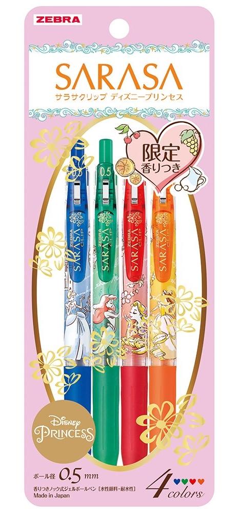 日本數量限定香味ZEBRA CLIP迪士尼公主系列 SARASA原子筆JJ29-DSP-4C香香筆-DISNEY(筆芯:0.5mm)