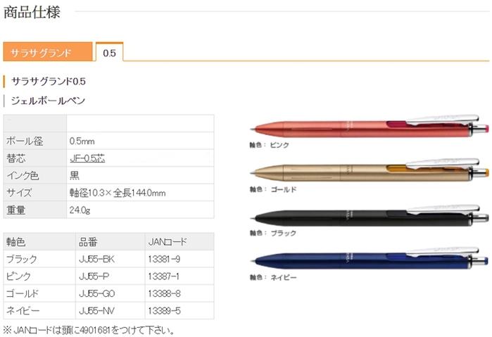 日本ZEBRA SARASA GRAND尊爵鋼珠筆P-JJ55系列(0.5mm黑芯,中性;日本原裝進口)