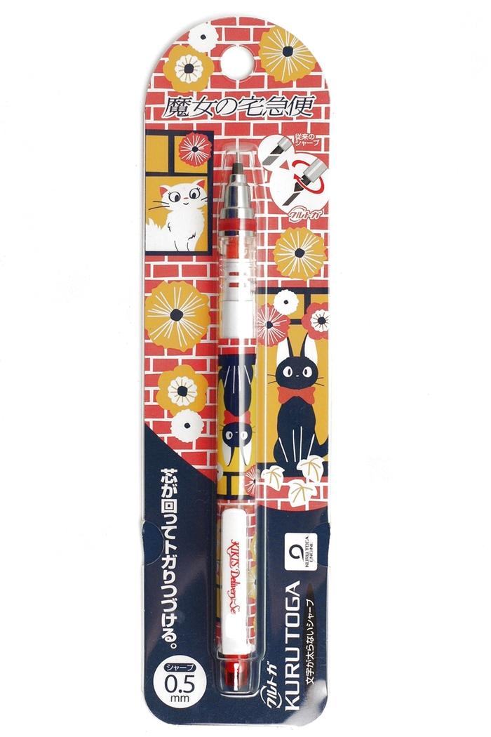 日本UNI宮崎駿KURU TOGA 0.5mm不易斷蕊自動旋轉鉛筆0316-16魔女宅急便-窗口邊的黑貓吉吉