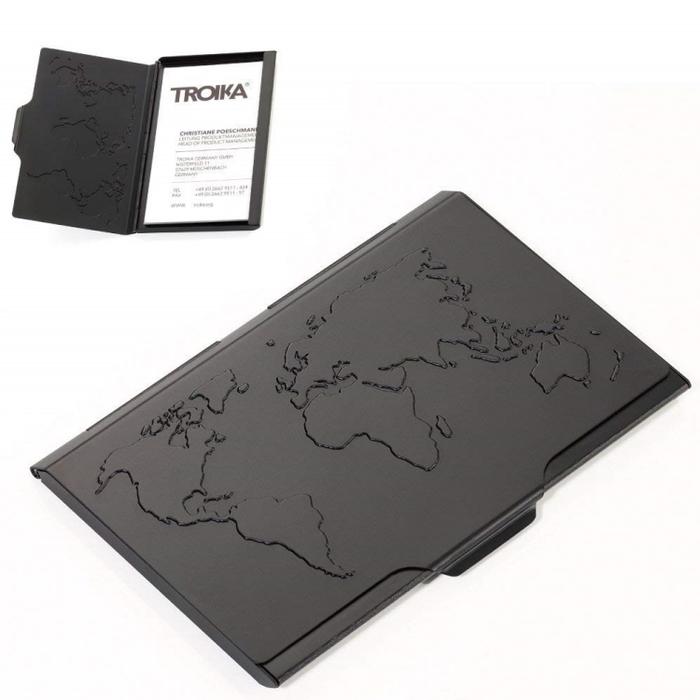 德國TROIKA|世界地圖名片夾 ( CDC15-02/BK 黑色 )