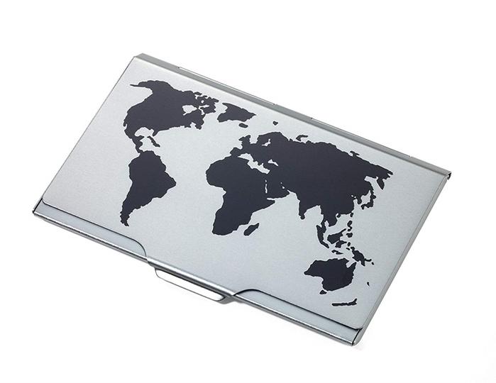 德國TROIKA|世界地圖名片夾 ( CDC15-02BK/TI鈦黑色 )