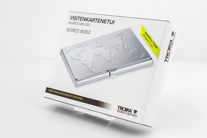 德國TROIKA 世界地圖不鏽鋼名片夾 ( CDC75 )