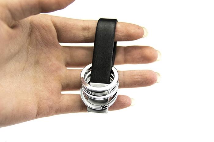 德國TROIKA|三環真皮革創意三環旋轉鑰匙圈 ( KRG649/LE )