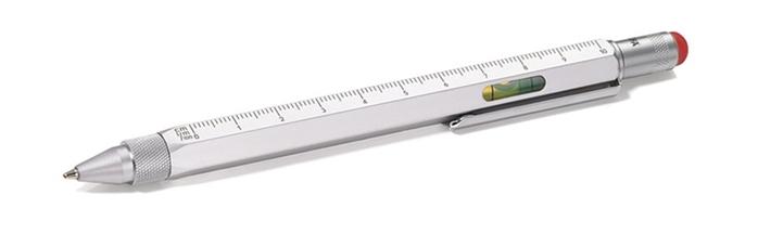 德國TROIKA|工程筆5合1多功能原子筆 (觸控/起子/尺/水平儀/圓珠筆 PIP20SI/RD )