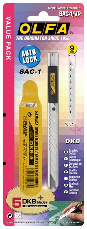 日本OLFA 專業折刃式美工刀 ( 附5支刀片 ; SAC-1/VP )
