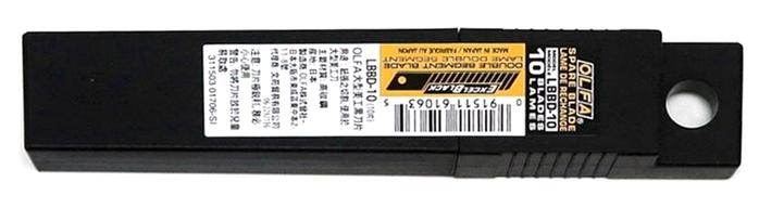 日本OLFA 折斷式替刃黑刃刀片18mm大型美工刀片 ( 10片裝 ; LBBD-10 )