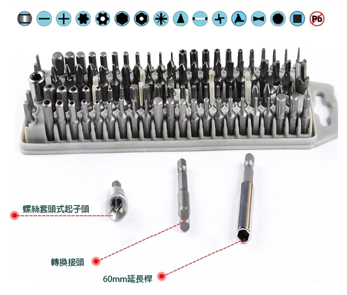 台灣Pro'sKit寶工 替換起子頭100支組 ( 公.英制 ; SD-2310 )