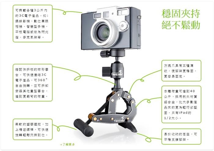 台灣製造TAKEWAY|鉗式腳架+蛇頸延長桿 ( T1+T-FN01 )