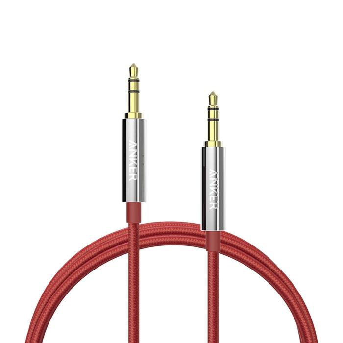 美國Anker|Audio Nylon Cable尼龍編織3.5mm耳機孔AUX-IN音源線 ( 4ft即120公分,紅色 ; A7113091 )