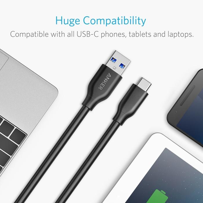 美國Anker|PowerLine USB 3.1轉USB-C充電傳輸線 ( 長10ft即3公尺 ; A8167011 )