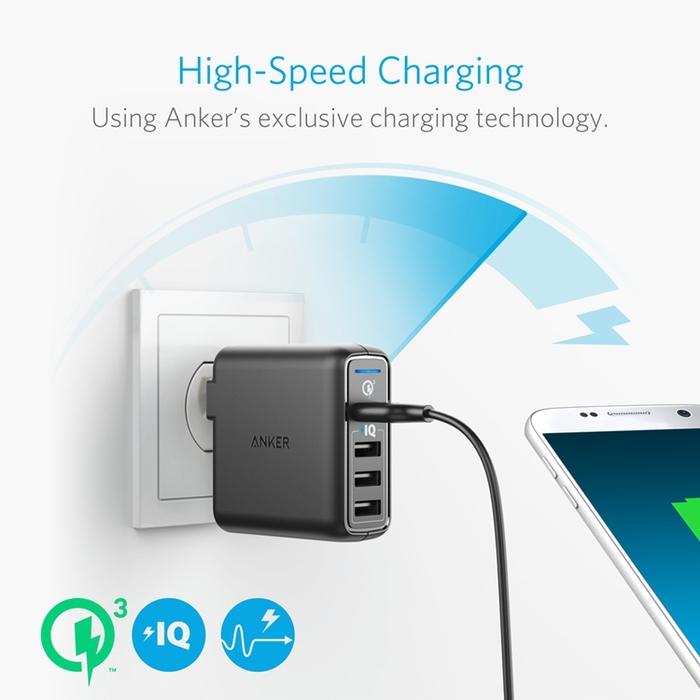 美國Anker|PowerPort Speed 3孔Quick Charge3.0 42W充電器 ( A2032111  )