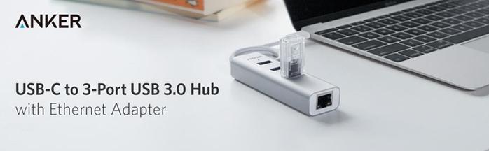 美國Anker|USB-C轉RJ45網卡+3埠USB集線器 ( A8303041  )