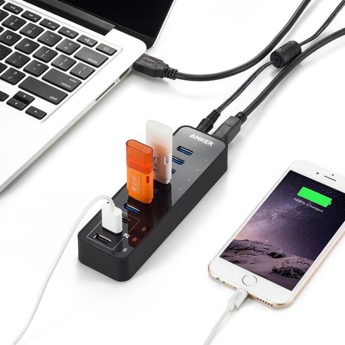 美國Anker|7+3埠USB快充集線器PowerIQ USB充電器 ( A7515511  )