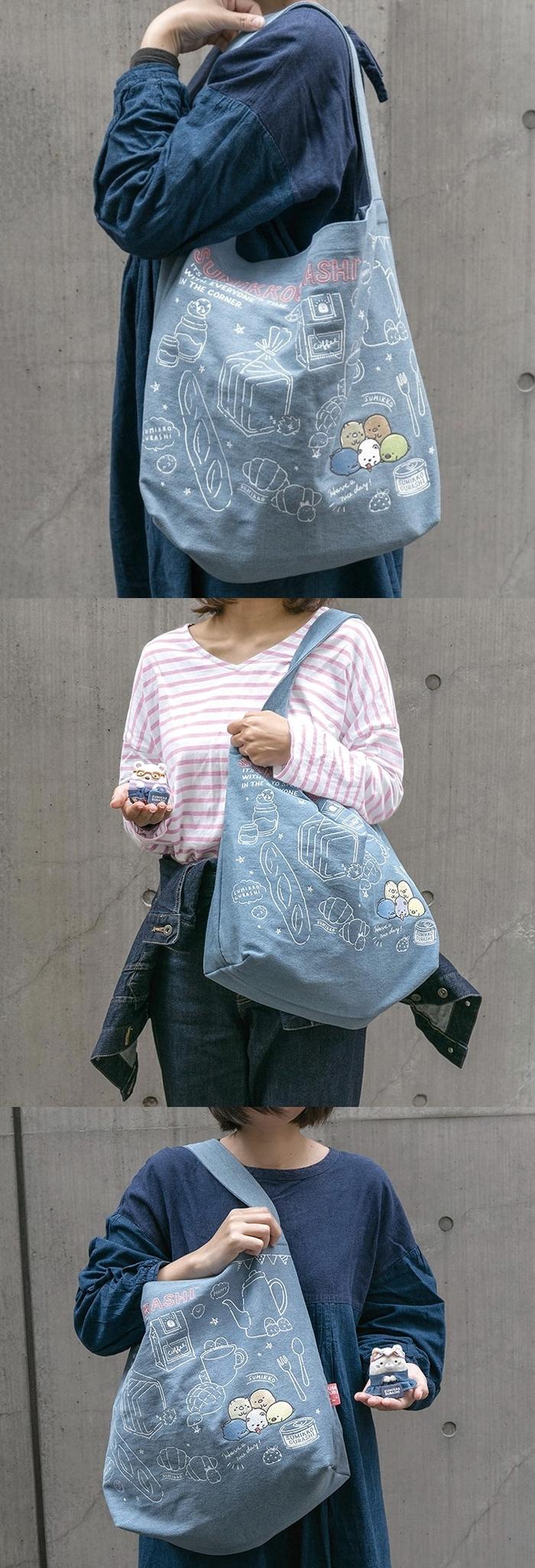 日本San-X|角落生物刺繡牛仔布包肩揹包 ( CU84301 )