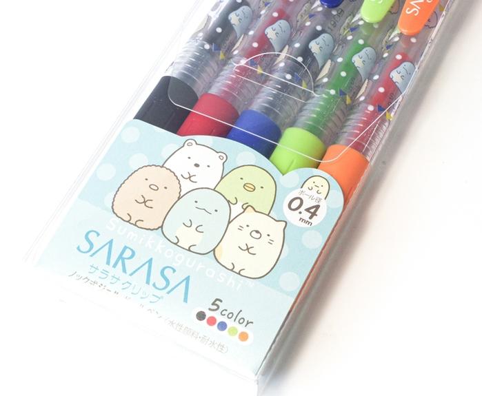 日本San-X|角落生物SARASA水性原子筆附筆夾圓珠筆5入組0.4mm ( PP42401 )