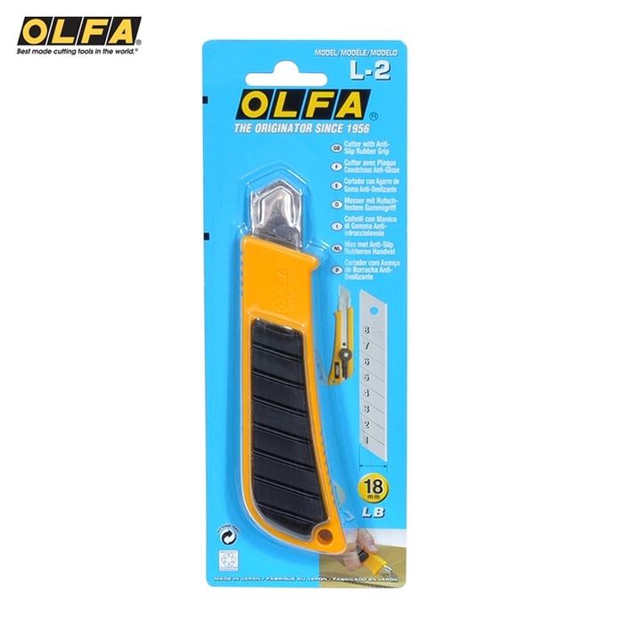 日本OLFA|防滑橡膠握把大型美工刀大美工刀18mm替刃 ( (螺栓式;L-2 )