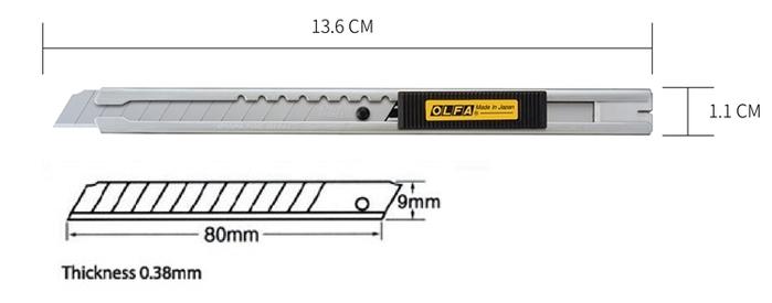 日本OLFA|標準型不銹鋼美工刀 (不鏽鋼刀柄;右左手皆適;自動鎖定刀片9mm;SVR-2)