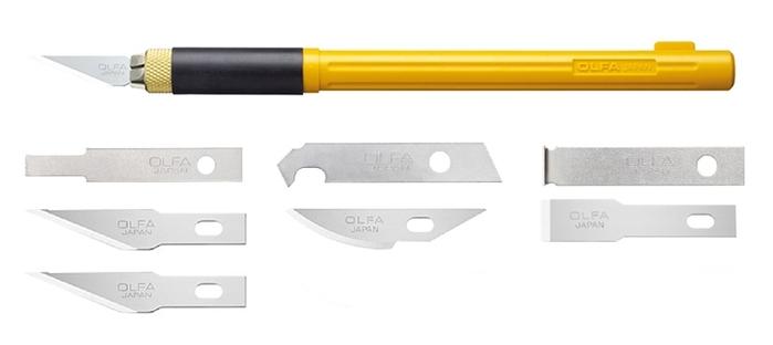 日本OLFA|手感佳細工筆刀組雕刻刀 (附6種刀片替刃;AK-4/BP)
