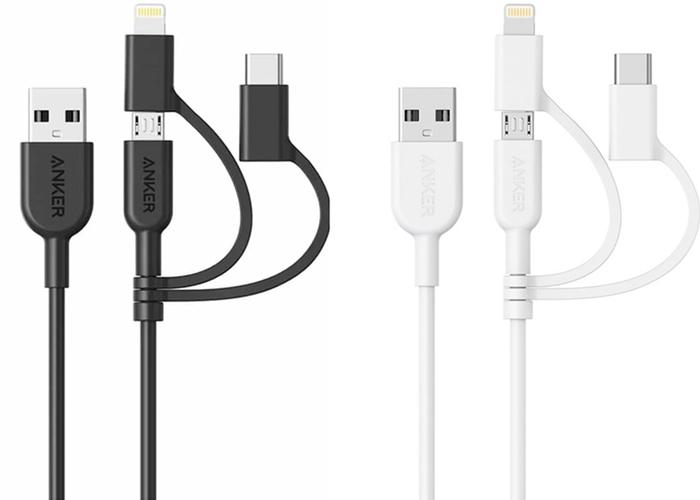美國ANKER|PowerLine II 3合1即USB-C+A+蘋果Lightning數據傳輸充電線 ( A8436H系列 )