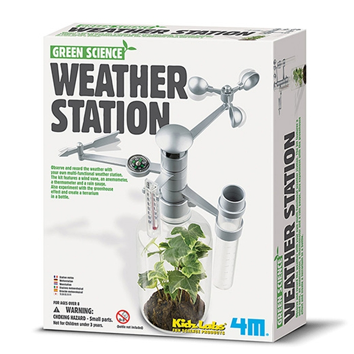 4M|綠色科學Weather Station環保氣象台觀察天氣候溫度溼度風向 (00-03279)